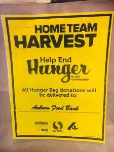 hometeam harvest, home team harvest, safeway, auburn safeway, albertsons, auburn albertsons, auburn food bank, auburn foodbank, northwest harvest