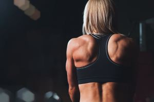 gym, back, blonde, gym, back muscles, work out