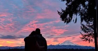 romantic, couple watching sunset, mt. rainier