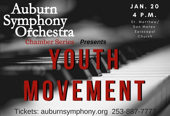 Auburn Symphony Orchestra, Auburn Symphony, Chamber Series, Youth Movement, Brittany Boulding, violin Brian Wharton, cello Mark Salman, piano, Saint Matthew/San Mateo Episcopal Church