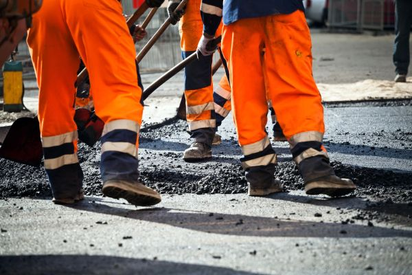 asphalt, road work, traffic advisory