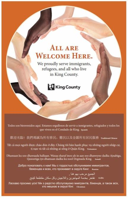 all are welcome here, king county, king county immigration and refugee commison