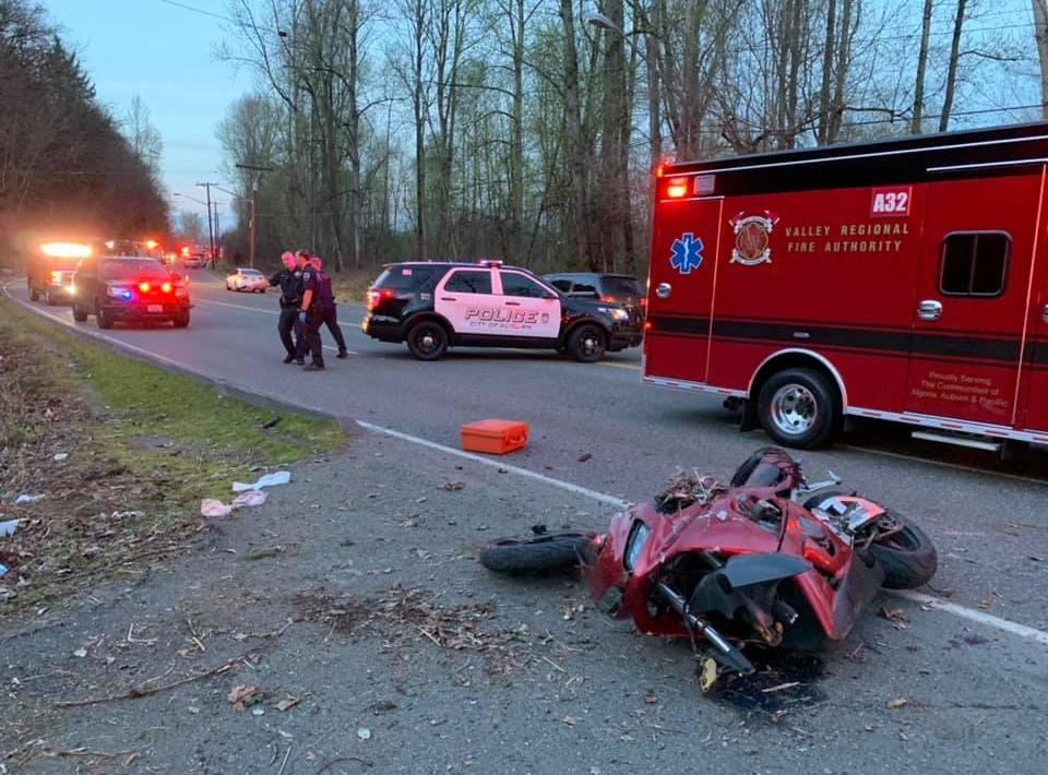 motorcycle accident, w valley hwy, vrfa, mva, car accident, motorcycle crash, motorcycle