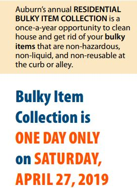 Bulky Item Collection Day, City of Auburn bulky item, auburn wa, waste management,