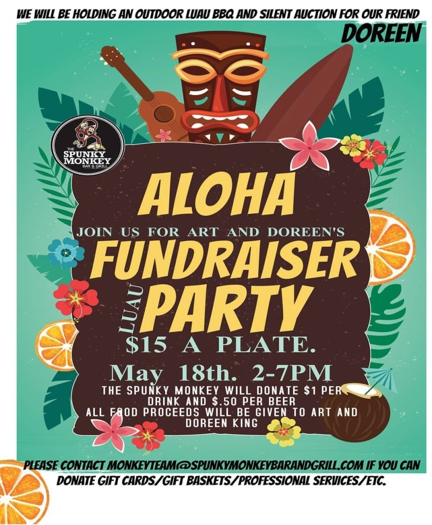 Spunky monkey bar and grill, spunky monkey, doreen king, art king, doreen and art king, fundraiser luau