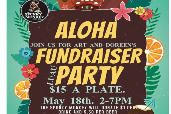 Spunky monkey bar and grill, spunky monkey, doreen king, art king, doreen and art king, fundraiser luau