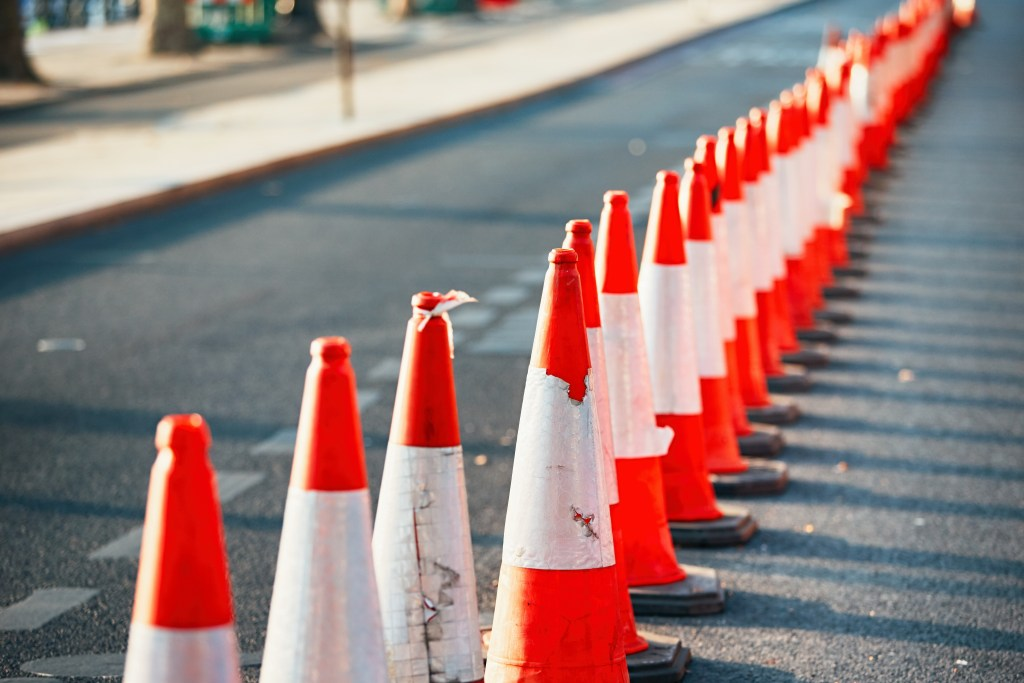 traffic cones, construction, road work