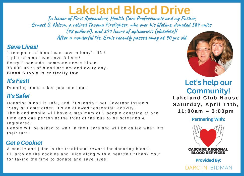 blood drive, darci bidman, lakeland, auburn wa blood drive, auburn wa