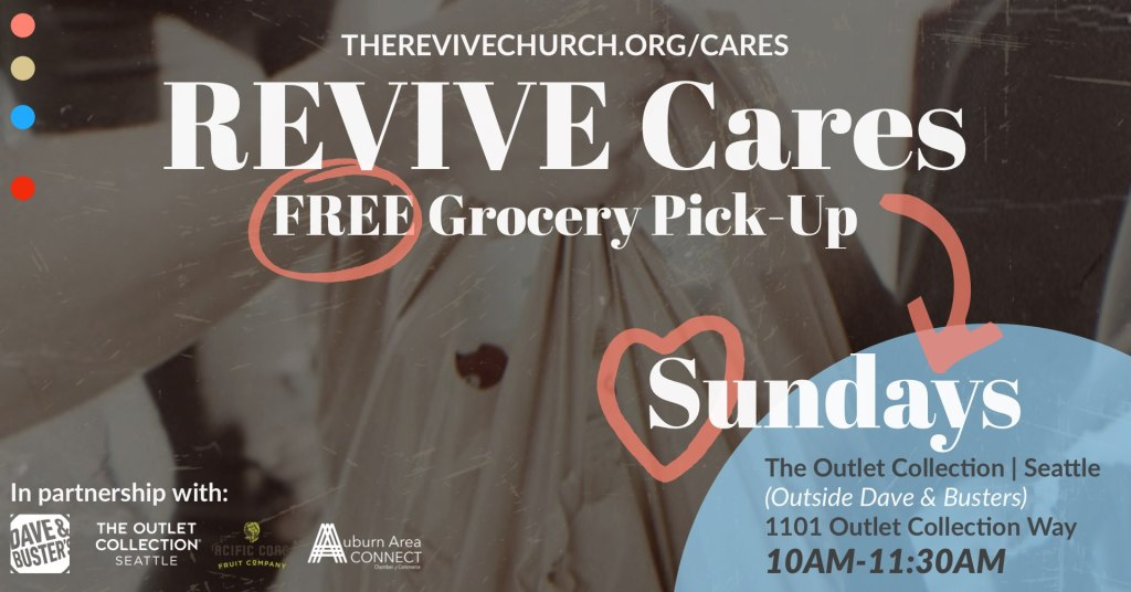 revive cares food drive thru, revive cares, revive cares auburn wa, revive cares outlet collection, revive cares auburn area connect, revive carea food program