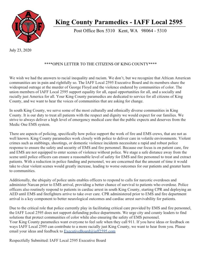 King County IAFF 2595 letter, King County Paramedic Open Letter, IAFF 2595, King County Paramedics union, king county medic one letter, king county paramedics community letter