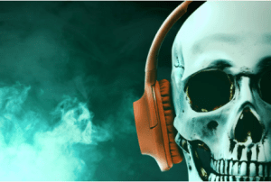 skull headphones, music