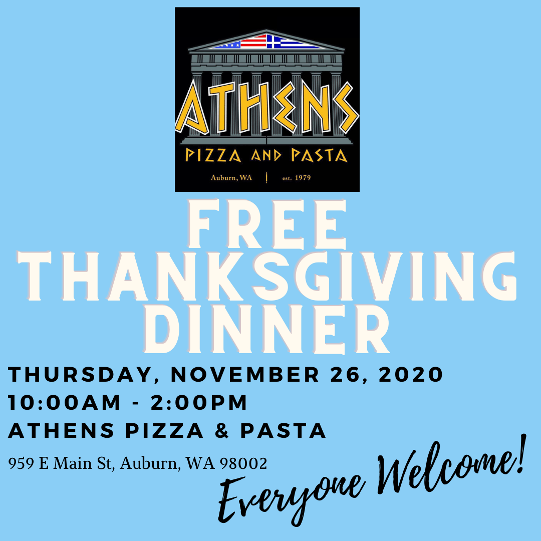 Athens Pizza and Pasta, Free Thanksgiving Dinner, Thanksgiving Dinner, Outreach, Community Support, Barbers Against Hunger, Auburn WA, City of Auburn thanksgiving meal, auburn wa pizza, 9th annual thanksgiving meal athens pizza