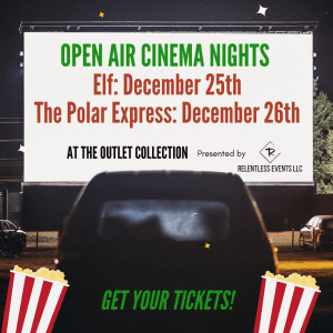 relentless events, open air cinema, outlet collection drive-in movie, the outlet collection, auburn wa drive in movie, outlet collection events, auburn wa movie, open air cinema ents, Open Air Cinema Nights by Relentless Events LLC, outlet collection elf, outlet collection polar express, relentless events elf, relentless events polar express