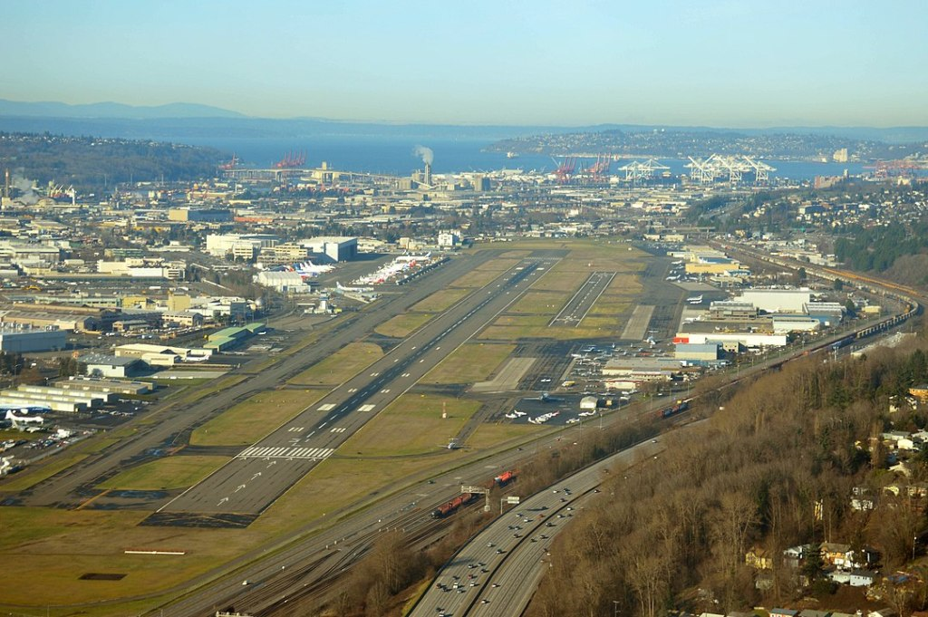 An aerial view of King County International Airport - Boeing Field, King County