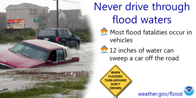 turnarounddontdrown, flood warning, roadway warning, weather.gov, flood warning image