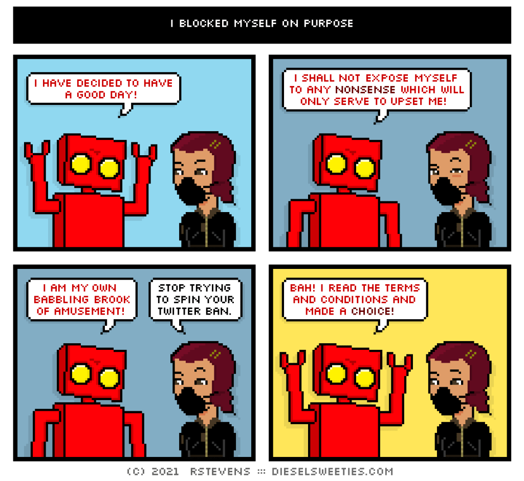 a cartoon of a robot twisting how he was blocked on twitter