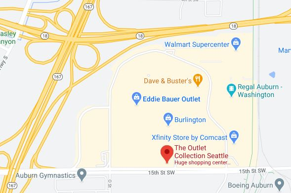 A googlemaps screen grab of the Outlet Collection