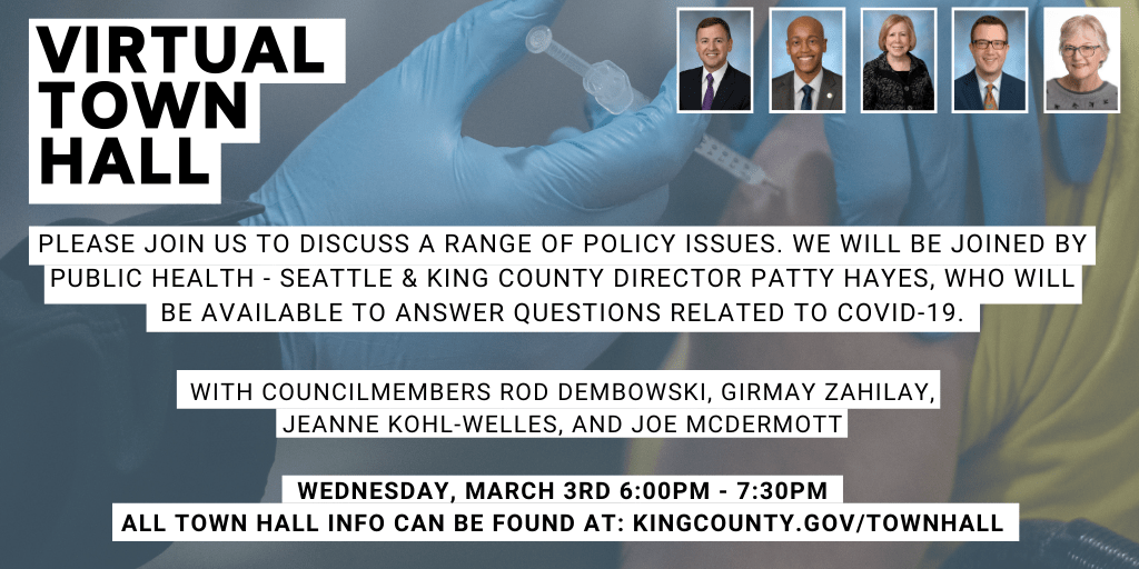 Banner promoting the King County Council March 3rd covid-19 virtual town hall