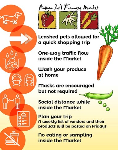 a graphic listing the farmers market rules. Information is contained in the article