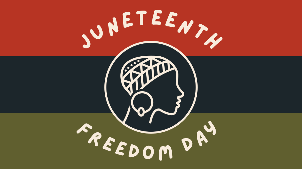 a graphic with red, black and green thick stripes. The center states Juneteenth Freedom Day encircling a drawn female's head