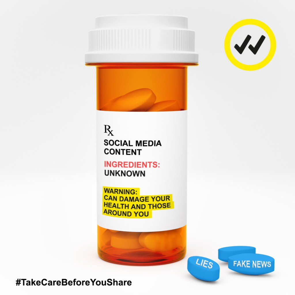 A pill bottle with a warning about sharing unknown information on social media