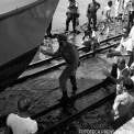 Fidel Castro en la botadura de 17 embarcaciones en el astillero Victoria de Girón.