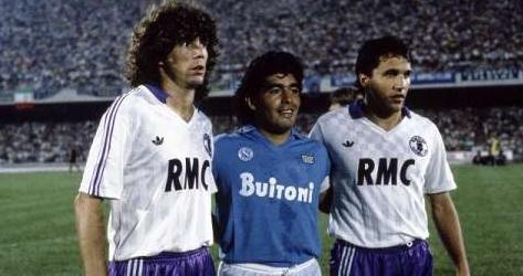 Diego Maradona avec ses compatriotes les Toulousains Alberto Tarantini et Beto Marcico