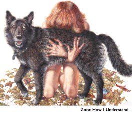 Drawing of a woman embarrassing a dog while kneeling on leaves. Text Zora: How I Understand