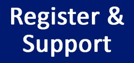 Blue button with text Register & Support
