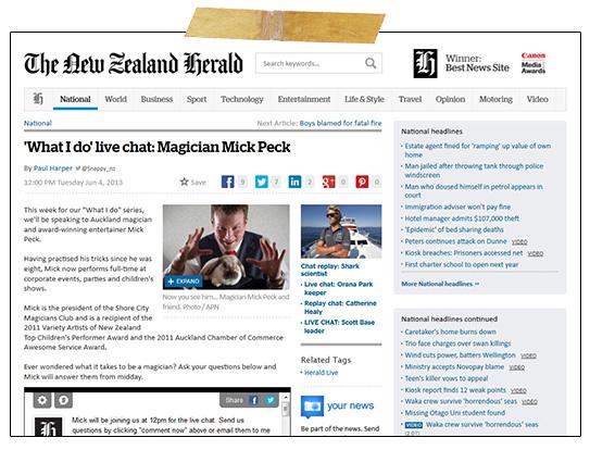 Auckland Magician Mick Peck's NZ Herald Online news feature