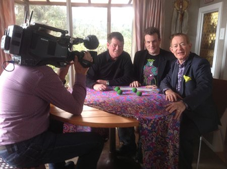 Auckland magicians Alan Watson, Mick Peck and Chicane, TV3 filming for story on magic