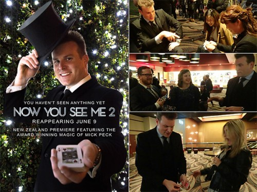 Auckland magician Mick Peck performs magic at the NZ premiere of Now You See Me 2 movie