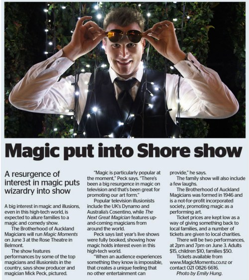 Auckland Magician Mick Peck photograph in the North Shore Times June 2017