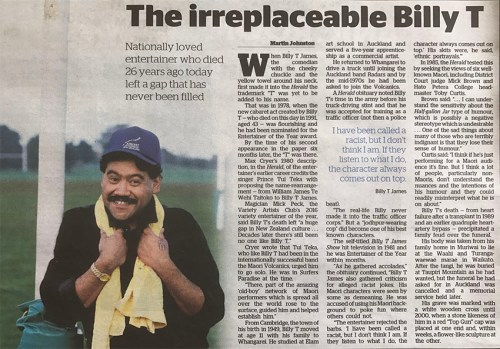 Auckland magician Mick Peck interviewed about the legacy of Billy T. James, New Zealand Herald August 2017