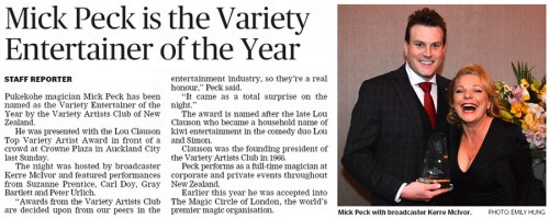 Auckland magician Mick Peck named New Zealand Variety Entertainer of the Year, press article photo