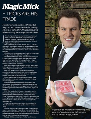 "Auckland Magician Mick Peck magazine story : ""Mick Peck Tricks Are His Trade"" October 2017"