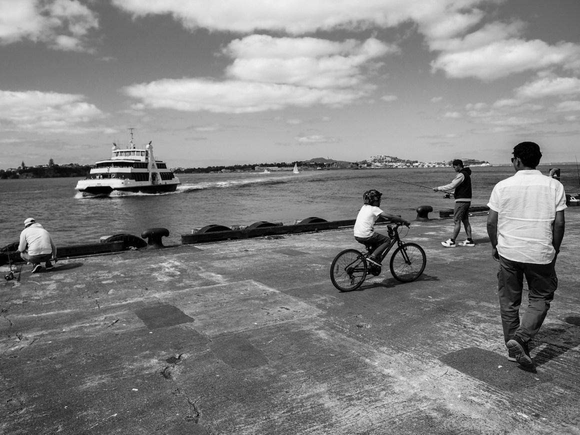 Queen Wharf Fishermen - Black & White - Street Photography Auckland