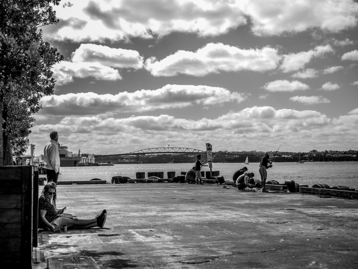 Queens Wharf Fishermen - Black & White - Street Photography - Auckland