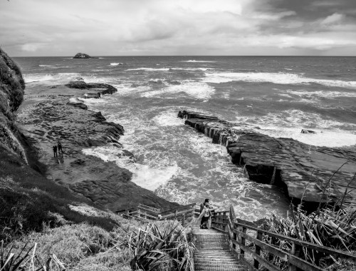 Muriwai Stormy Sea - Black & White - Landscape Photography Auckland