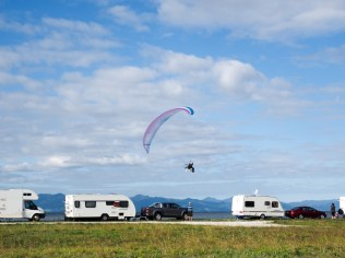 Paraglider at Rays Rest Camping Reserve - Firth of Thames
