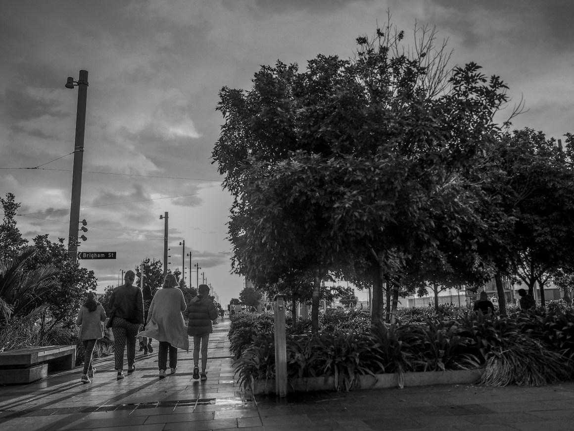 Family walking along Wynyard Quarter Silo Park