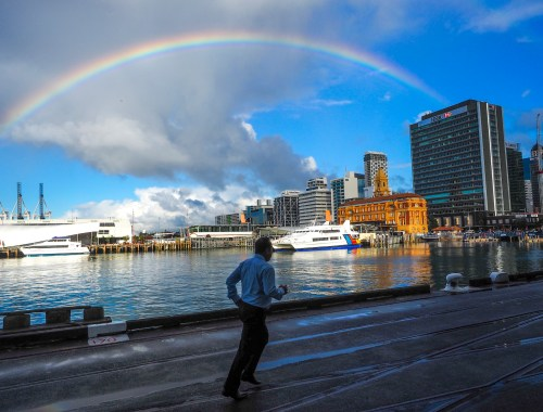 Queens Wharf Rainbow Auckland Harbour