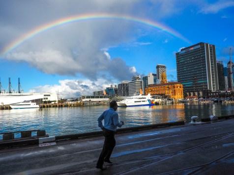 Queens Wharf Rainbow Auckland Harbour