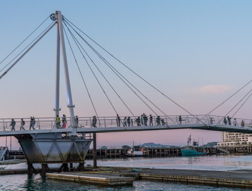 People Walking over Viaduct Harbour Bridge - Street Photography Auckland