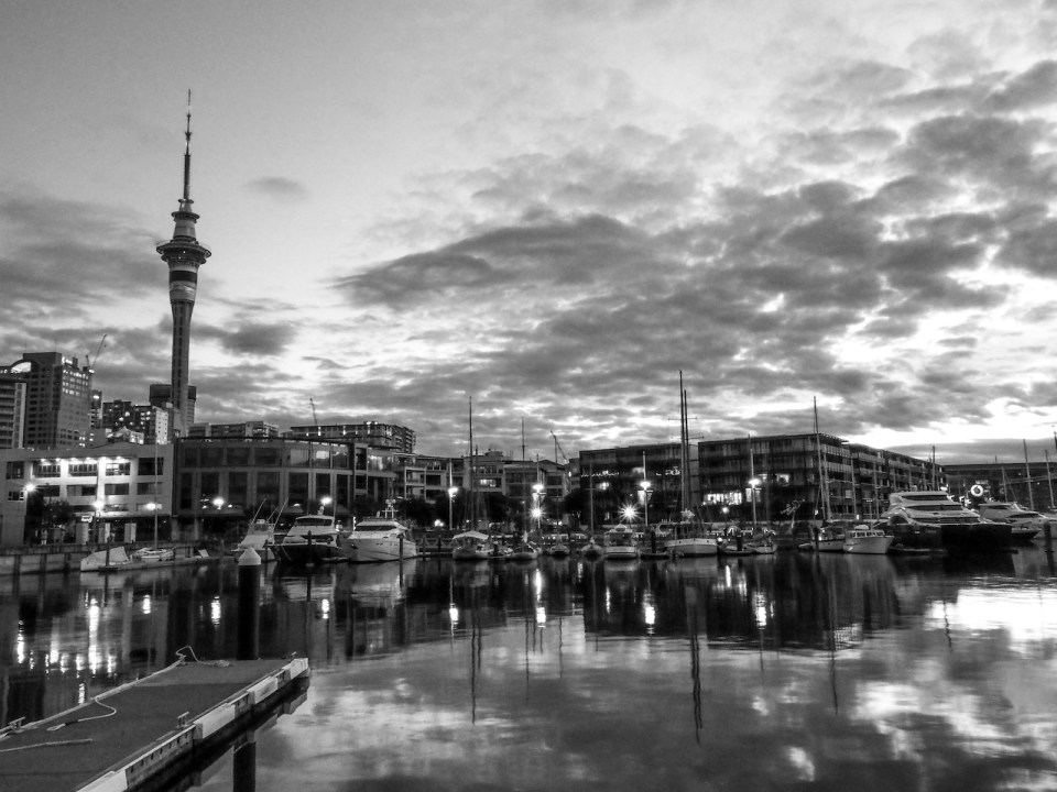 Viaduct Harbour Night - Black & White Street Photography