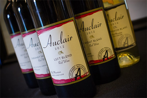 Auclair Winery bottle lineup