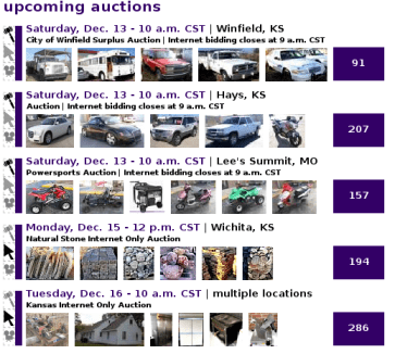Auction calendar emphasizing upcoming auctions