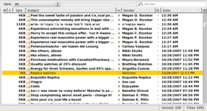 screenshot of an email inbox filled with spam