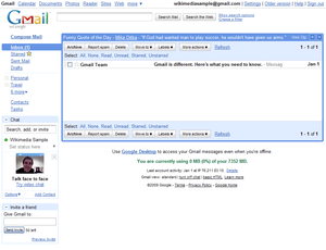 Gmail inbox (July 2009)