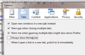 Turn off unnecessary tabs in Firefox